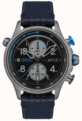 AVI-8 小贩猎人|计时码表|黑色表盘|蓝色皮革表带 AV-4080-02