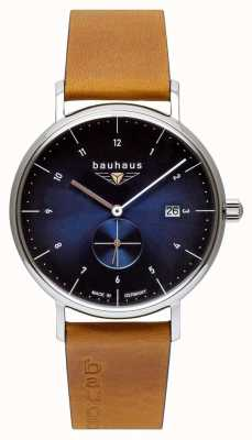 Bauhaus 男士棕色意大利皮表带|蓝色表盘 2130-3