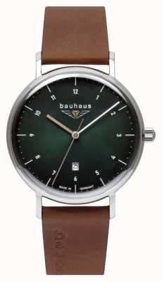 Bauhaus 男士棕色意大利皮表带|绿色表盘 2140-4