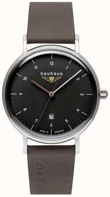Bauhaus 男士灰色意大利皮革表带|黑色表盘 2142-2