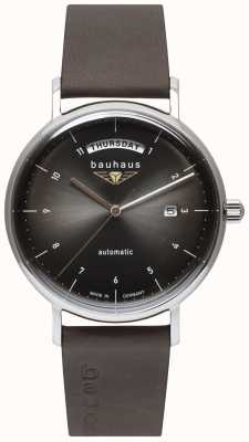 Bauhaus 男士黑色意大利皮表带|黑色表盘|自动 |日期/日期 2162-2