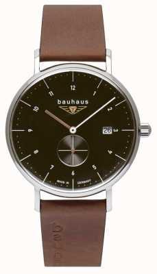 Bauhaus 男士棕色意大利皮表带|黑色表盘 2132-2