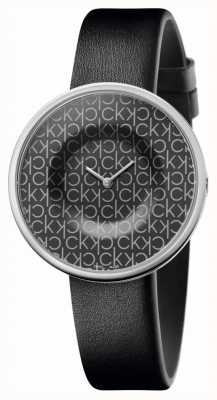 Calvin Klein |女式|躁狂症|黑色皮革表带|黑色ck图案表盘| KAG231CX