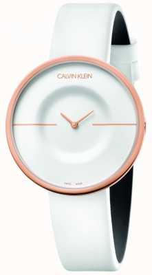 Calvin Klein |女式|躁狂症|白色皮革表带|玫瑰金表壳| KAG236L2