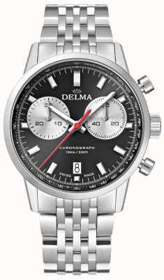 Delma 大陆计时码表|钢手链|黑色表盘 41701.704.6.031