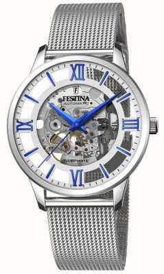 Festina 男士自动上链|钢网手链|银色/蓝色表盘 F20534/1