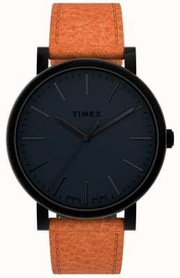 Timex |原件 42 毫米 |黑色表盘|棕褐色皮革表带| TW2U05800