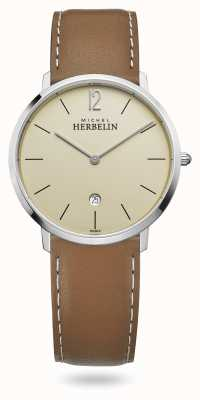 Michel Herbelin 城市|棕色皮革表带|香槟色表盘 19515/17NGO