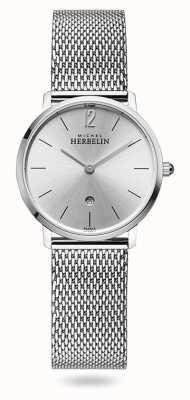 Michel Herbelin 城市|银表盘|不锈钢网状手链 16915/11B