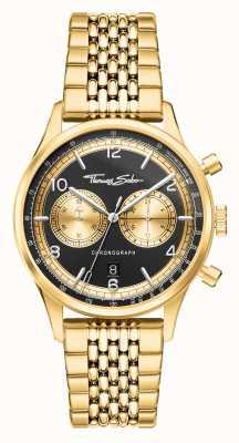 Thomas Sabo |叛逆于心|男装金色手链|黑色表盘| WA0376-264-203-40