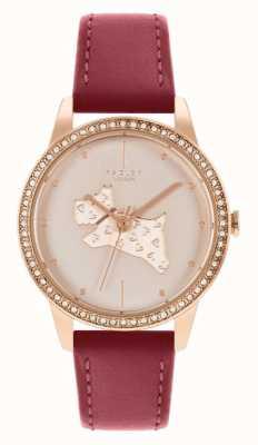 Radley 妇女的红色皮革表带|玫瑰金狗图案表盘 RY21184