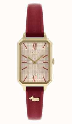 Radley 妇女的红色皮革表带|香槟色表盘 RY21204