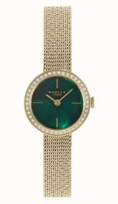 Radley |女式|镀金网状手链|绿色珍珠贝母表盘| RY4568