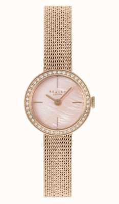 Radley |女式|镀玫瑰金网状手链|珍珠贝母表盘| RY4570