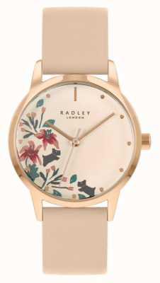 Radley 女士裸色/浅粉红色皮革表带|奶油花卉表盘 RY21220A