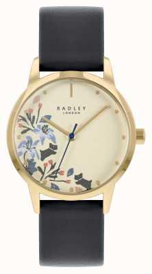 Radley 女士黑色皮革表带|米色表盘 RY21222A