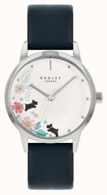 Radley 女士蓝色皮革表带|白色花卉表盘 RY21229A