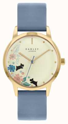 Radley 女士蓝色皮革表带|香槟色表盘 RY21230A