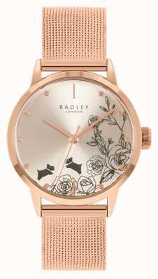 Radley 女士玫瑰金网眼手链|银色花卉表盘 RY4582A