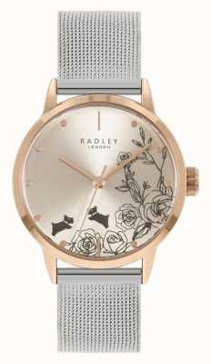 Radley 女士不锈钢银色网状手链|银色花卉表盘 RY4581A