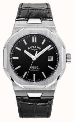 Rotary 男士摄政自动|黑色表盘|黑色皮革表带 GS05410/04
