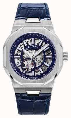Rotary 男士摄政自动|蓝色镂空表盘|蓝色皮革表带 GS05415/05