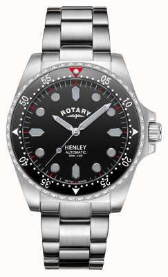 Rotary 男士  亨利 自动  黑色表盘 不锈钢手链 GB05136/04