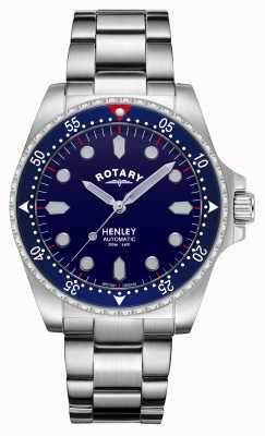 Rotary 男士  亨利 自动  蓝色表盘 不锈钢手链 GB05136/05