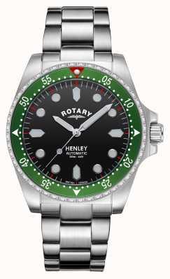 Rotary 男士 |亨利|自动 |黑色表盘|不锈钢手链 GB05136/71