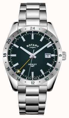 Rotary 男士亨利| gmt |绿色表盘|不锈钢手链 GB05176/24