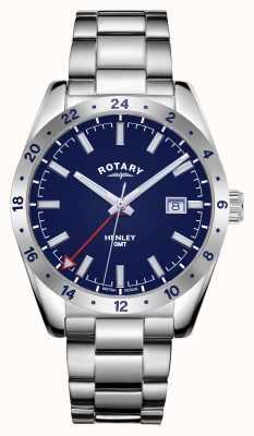 Rotary 男士亨利| gmt |蓝色表盘|不锈钢手链 GB05176/05