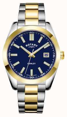 Rotary 男士亨利|蓝色表盘|两音不锈钢手链 GB05181/05