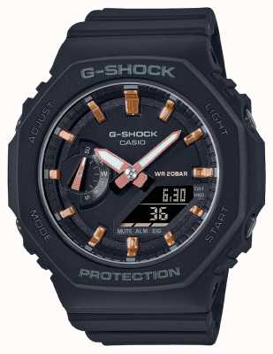 Casio 中型G级休克|黑色树脂表带|黑色表盘 GMA-S2100-1AER