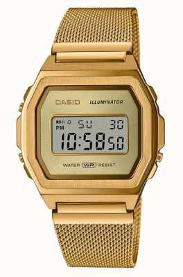 Casio 年份 数码 黄金pvd不锈钢网 A1000MG-9EF