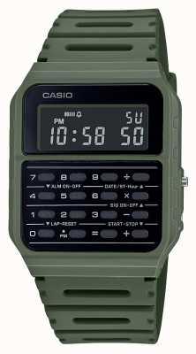 Casio 复古计算器手表 绿色树脂表带 黑色表盘 CA-53WF-3BEF