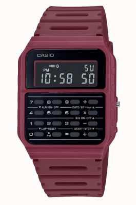Casio 复古计算器手表 深红色树脂表带 黑色表盘 CA-53WF-4BEF