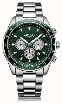 Rotary 男士亨利|计时码表|绿色表盘|不锈钢手链 GB05109/24