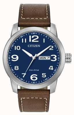 Citizen 男士环保型棕色皮表带WR100 BM8471-19L