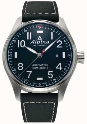 Alpina 男士smartimer飞行员汽车|黑色皮革表带|深蓝色表盘 AL-525NN4S6
