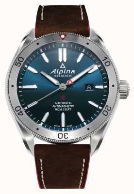 Alpina 男士Alpiner 4自动上链|棕色皮革表带|蓝色表盘 AL-525NS5AQ6