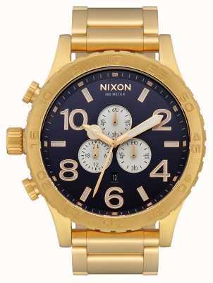 Nixon 51-30 计时码表 |全金/靛蓝|黄金ip手链|靛蓝色表盘 A083-2033