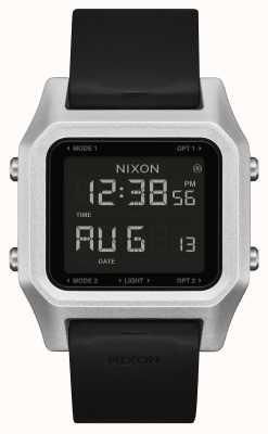 Nixon 主食  银色/黑色 数字 黑色硅胶表带 A1309-625