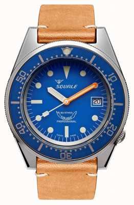 Squale 蓝色喷砂|自动|蓝色表盘|棕色皮革表带 1521BLUEBL.PC-CINVINTAGE