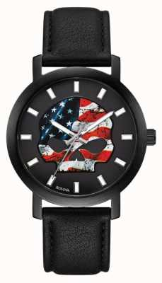 Harley Davidson 男士美国国旗willie g |黑色皮革表带 78A122