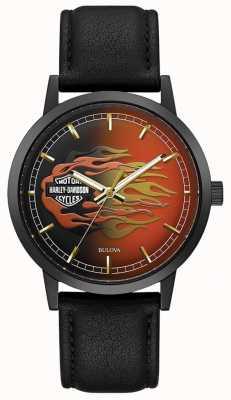 Harley Davidson 男士金属火焰|黑色皮革表带|火焰表盘 78A123