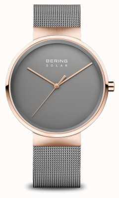 Bering 男士太阳能手表 玫瑰金/灰色 14339-369