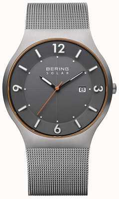 Bering 太阳能|男装灰色钢网手链 14440-073-A