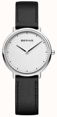 Bering 女士经典黑色皮革表带手表 15729-404
