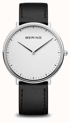 Bering 经典的中性黑色皮革表带手表 15739-404