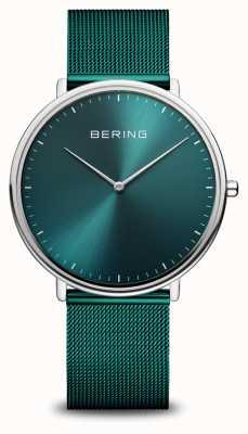Bering 经典的绿色米兰网眼手链表 15739-808